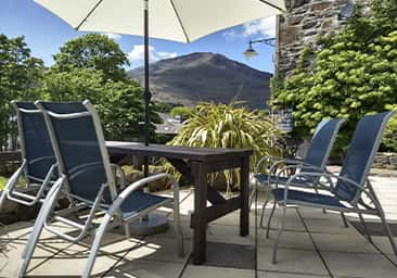 Outdoor seating area with stunning views at Plas Tan y Graig B&B, Beddgelert, Snowdonia, North Wales